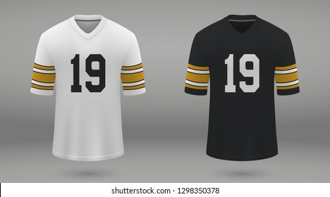 Realistic american football jersey Pittsburgh Steelers, shirt template for kit. Vector illustration