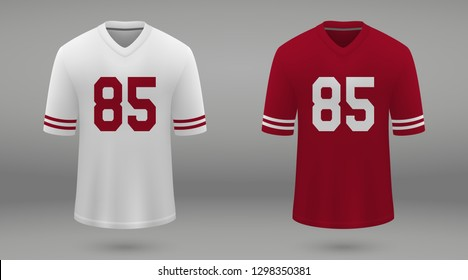 Realistic american football jersey San Francisco 49ers, shirt template for kit. Vector illustration