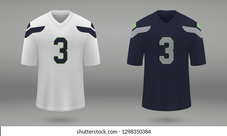 Realistic american football jersey Seattle Seahawks, shirt template for kit. Vector illustration