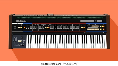 Realistic analog synthesizer. Keyboard for making music. Legendary model of a musical instrument in vector. Black and white keys.