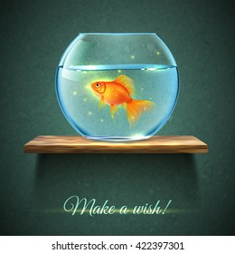Realistic aquarium with gold fish on a wooden shelf poster and title make a wish vector illustration
