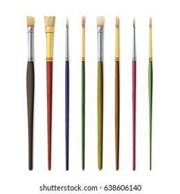 Realistic Artist Paintbrushes Set. Fan, Flat, Angle Brush. Watercolor, Acrilic Or Oil Brushes With Light Wooden Handle, Metal Ferrule And Sable, Synthetic Or Nylon Bristle. Vector Illustration