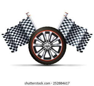 Realistic auto car wheel with flags racing sport concept vector illustration