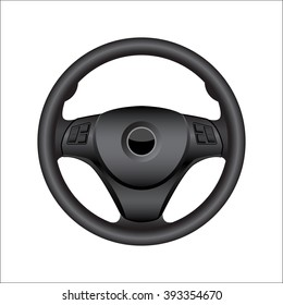 realistic automobile multi function steering wheel isolate on white background vector illustrations