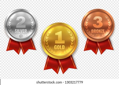 Realistic award medals. Winner medal gold bronze silver first place trophy champion honor best shiny circle ceremony prize, vector set