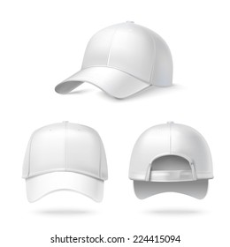 Realistic back front and side view white baseball cap isolated on white background vector illustration