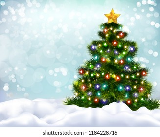 Realistic background with beautiful decorated christmas tree and snow banks vector illustration
