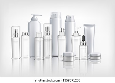 Realistic background with collection of different cosmetics containers  tubes and jars for cream oil and balm vector illustration