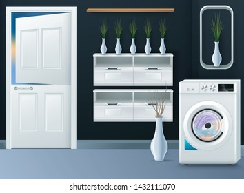 Realistic background with modern washing machine in empty laundry room vector illustration