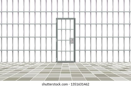 Realistic background prison iron interior. Gray door jail cells bars modern. Banner vector detailed illustration metal lattice. Detention centre metallic. Isolated way, freedom concept grid, jail.