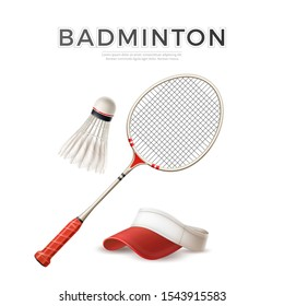 Realistic badminton racquet with shuttlecock and tennis cap white mockup. Vector badminton ball with feather and rocket. Athletic lifestyle, sport design.