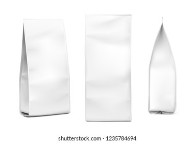 Realistic bag mockup on white background. Fron, side and perspective views. Vector illustration. Can be use for template your design, promo, adv. EPS10.