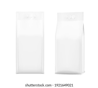 Realistic bags with three fingerы handle isolated on white background. Front and perspective view. Vector illustration. Can be use for template your design, presentation, promo, ad. EPS 10.