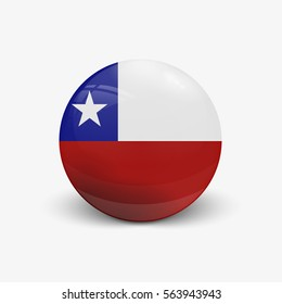 Realistic ball with flag of Chile. Sphere with a reflection of the incident light with shadow.
