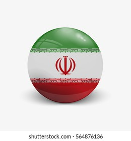 Realistic ball with flag of Iran. Sphere with a reflection of the incident light with shadow.