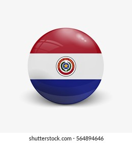 Realistic ball with flag of Paraguay. Sphere with a reflection of the incident light with shadow.