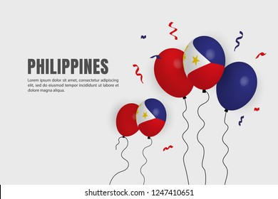Realistic ballon for Philippines celebration background. Happy AEC greeting Card,  South East Asia Colorful posters, flyers, banners, presentation.
