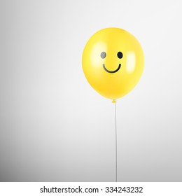 Realistic balloon. Smiley face. Yellow smile balloon. Happy birthday. Vector illustration. Happy face. Smiley face vector. Smiley balloon background. Realistic balloon. Realistic smiley balloon