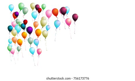 Realistic Balloons Bunch Flying Upwards in the Air. Vector Illustration Isolated on White. Red, Blue, Orange, Yellow, Green, Purple Realistic Balloons Collection. Celebration Card, Festive Decoration.