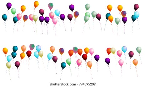 Realistic Balloons Confetti. Cool Isolated Vector Illustration. Flying Up or Falling from the Sky 2d Helium Realistic Balloons. Jolly Colorful Party Celebration, New Year, Birthday Festive Background.