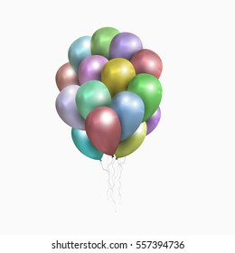 . Realistic balloons illustration for party, celebration design decoration. Editable elements with gradient mesh and clipping mask