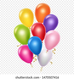 Realistic balloons vector background template. Balloons and golden ribbons isolated on transparent background. Colored balloon with golden ribbon for celebrate party illustration