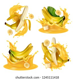 Realistic banana juice splash set with four isolated images of banana fruits floating in yellow liquid vector illustration