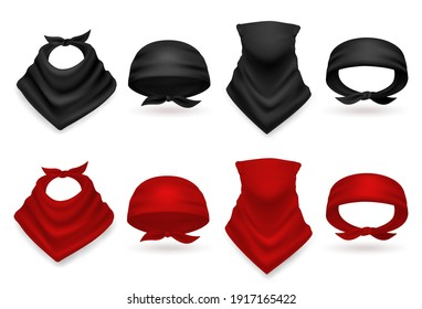 Realistic bandana set. Colored black and red handkerchiefs, scarf and neck accessory, stylish fabric head and hair accessories, west style, costume element, fashion template vector isolated 3d mockup