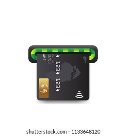 Realistic bank atm machine slot icon. Payment terminal, shopping symbol. Insert credit card sign. Designed for software and web interface toolbars and menu. Vector illustration.