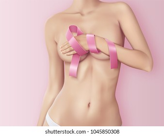 Realistic banner with the beautiful woman and pink ribbon, breast cancer awareness symbol, vector illustration