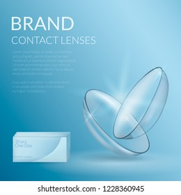 Realistic banner of contact lenses and packaging. Medical and cosmetic illustration design template. Vector