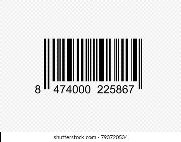 Realistic barcode black icon. Barcode vector illustration. Isolated on transparent background