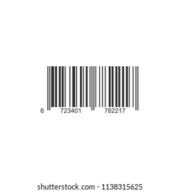 Realistic barcode icon with digital code numbers