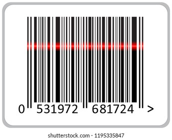 Realistic barcode icon. Barcode with laser scanning of vector illustration.