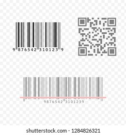 Realistic Barcode and QR code icon set isolated on transparent background. Bar code vector icon collection
