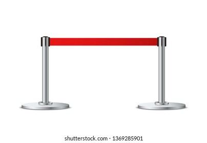 Realistic barrier fence with red tape. Metallic poles with red ribbon. Red carpet event entrance gate. VIP zone, exclusive entrance, closed event restriction, museum exhibition concept. Vector