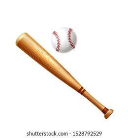 Realistic baseball bat and ball. Wooden sticks for baseball betting promotion design. American sport game championship banner design. Vector professional league banner. Active lifestyle symbol.