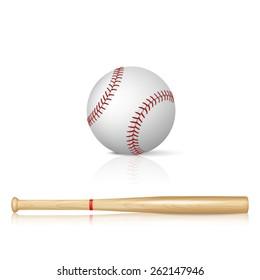 Realistic baseball bat and baseball with reflection on white background