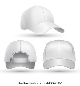 Realistic baseball cap front, side, back views set.