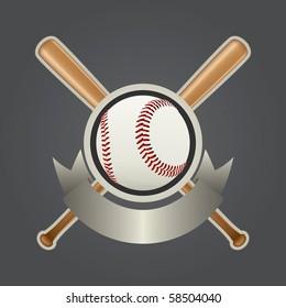 Realistic Baseball Design Element Vector Drawing