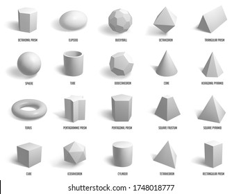 Realistic basic 3d shapes. Geometry sphere, cylinder, pyramid and cube forms, geometric shapes model isolated vector illustration icons set. Model cube, sphere, polygon, hexagon group construction