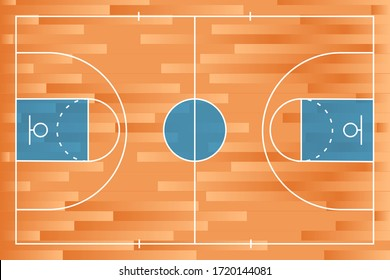 Realistic basketball court with line on wood texture background. Vector stock illustration.