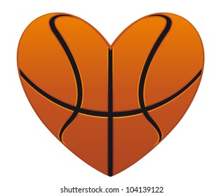 Realistic basketball heart isolated on white background for sports design, such logo. Jpeg version also available in gallery