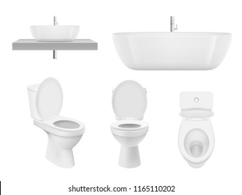 Realistic bathroom collection. Toilet, washing cabinet bowl bathroom sink clean white for fresh washroom basin. Vector pictures. Illustration of bathroom toilet, sink or basin, plumbing bath