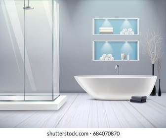 Realistic bathroom interior new stylish renovation in the bathroom with shower and bathtub vector illustration