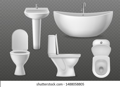 Realistic bathroom objects. White collection bathtub, toilet seat and washbasin with faucet. Bathroom sanitary vector 3d washrooms clean modern mockups
