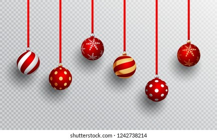 Realistic baubles in different designs hang on png or transparent background.