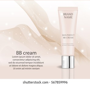 Realistic BB cream, foundation design template for cosmetics. Make-up, clean skin concept. 3d tube of Skin Toner mock-up. Vector illustration