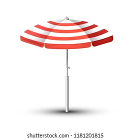 Realistic Beach umbrella set. Red and white design. Isolated for all backgrounds.