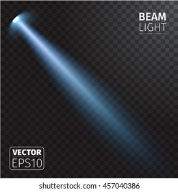 Realistic beam light on transparent background.